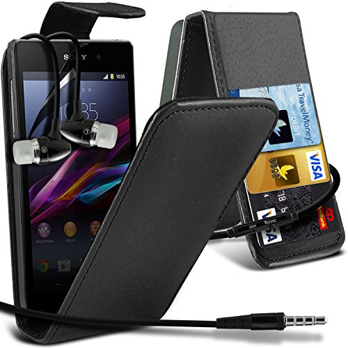 ( Black ) Sony Xperia Z1 Compact Premium Faux Credit / Debit Card Slot Leather Flip Skin Case Cover & Lcd Screen Protector Guard & Aluminium In Ear Earbud Stereo Hands Free Earphone With Built In Mic & On-Off Button By Fone-Case