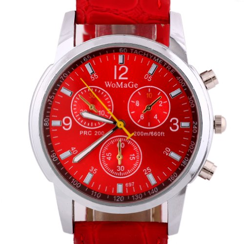 Sotijobs Mens Womens Unisex Fashion Three Eyes Leather Analog Wrist Watch Red