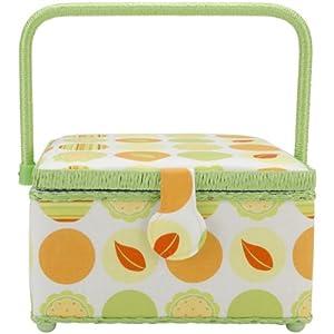 Prym 128946NC Square Sewing Basket, Nature Circles