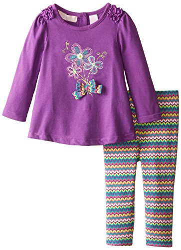 Kids Headquarters Baby Girls' Tunic with Flowers and Printed Leggings, Purple, 18 Months