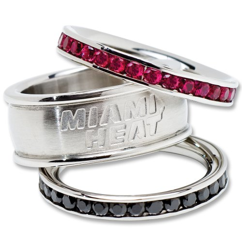 Miami Heat Logo Crystal Stacked Ring Set (Size 7)