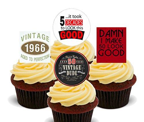 50e-anniversaire-mle-1966-Vintage-dcorations--gteau-comestibles-pour-cupcakes-Col-Montant