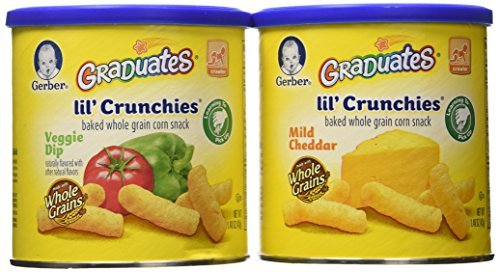 Graduates lil' crunchies baked whole grain corn snack 4 Mild Cheddar 2 veggie dip (6 pack - 1.48 oz each can) by Gerber Graduates (Lil Crunchies Veggie Dip compare prices)
