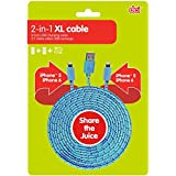 DCI 54946 XL 2-in-1 Phone Charger Cable, USB To 2 Lightning Cables, IPhone 5 Or 6, Tangle Free Cord, 9', Blue