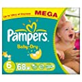 Pampers Baby Dry Size 6 (Extra Large) Mega Box - 68 Nappies
