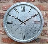 Galvanised Outdoor Garden Clock - 35cm (13.8