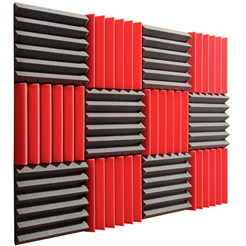pro-studio-acoustics-12x12x2-acoustic-wedge-foam-absorption-soundproofing-tiles-red-charcoal-12-pack