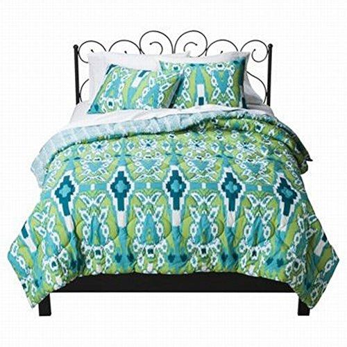 Xhilaration Full Queen Blue And Green Ikat Comforter & Shams Set Reversible front-992616