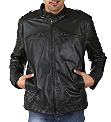 Shagoon Emporium Men's Leather Jacket(sh0077_Black_Medium)
