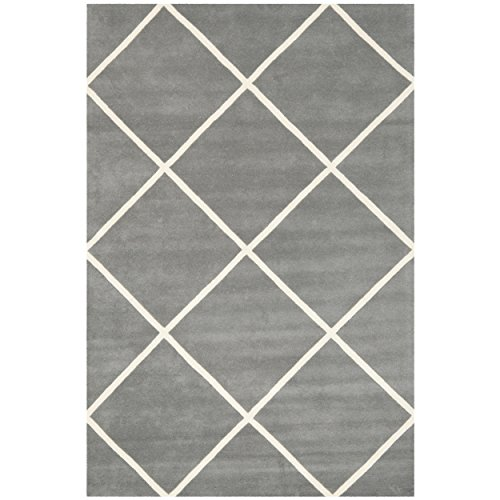 Safavieh Chatham Collection CHT720D Handmade Dark Grey and Ivory Wool Area Rug, 8 feet by 10 feet (8' x 10')