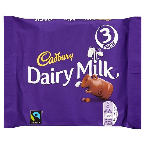 Cadbury Dairy Milk Chocolate Bar 3 x 36g Pack - 4.3oz (British Chocolate) (The British Grocery compare prices)