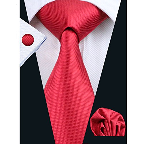 Hi-Tie Classic Necktie Set Solid Color Silk Ties for Men