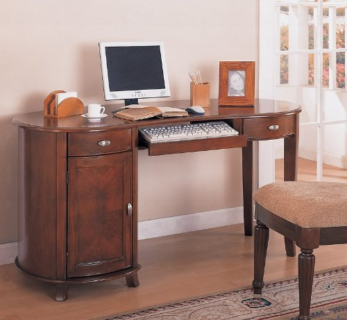 Buy Low Price Comfortable Kidney shaped computer desk in cherry finish with keyboard tray (B000XBRRWK)