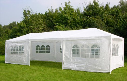 Waterproof 3m x 9m PE Gazebo Marquee Awning Party Tent Canopy White 120g Polyster Power Coated Steel Frame