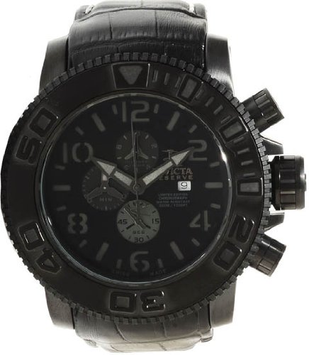 Invicta Sea Hunter Chronograph Black Dial Black Leather Strap Mens Watch 10697