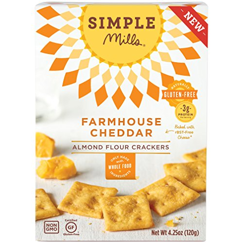 Simple Mills Farmhouse Cheddar Almond Flour Snack Crackers, Gluten Free, Natural 4.25 ounce (Pack of 3) (Wheat Cheese Crackers compare prices)