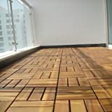Solid Acacia Decking Tiles, 12 slats, Made in Vietnam, box of 9