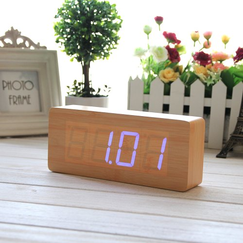 Eiiox Bamboo Wood Grain Blue Led Alarm Clock- Time Temperature Date & Sound Control-Latest Generation Desktop Digital Wood Alarm Clock front-953128