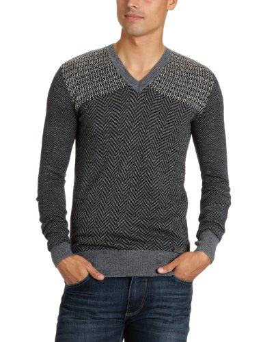 energie Ian V-Neck Pullover Men's Jumper Blue Knit Large