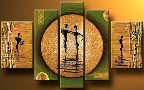 Arts World Hand-Painted 5 Piece Modern Abstract Oil Paintings On Canvas Lovers Dance Pictures Wall Art For Living Room Home Decoration