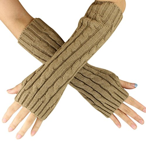 Doinshop 1 Pair Hemp Flowers Fingerless Knitted Long Gloves (10.6 inches, Khaki)