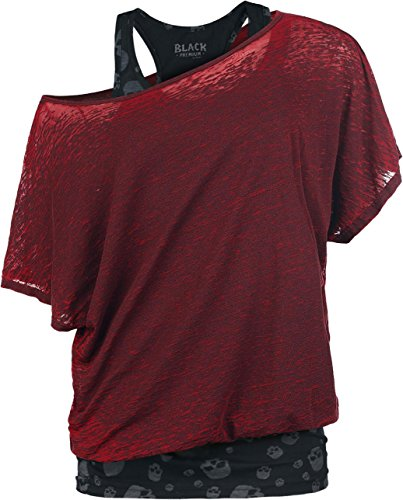 Black Premium by EMP 2 In1 Skull Bat Burnout Shirt Maglia donna rosso/nero XL