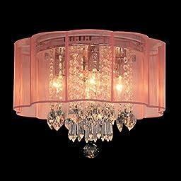 Dst Modern Chandelier Pink Shade Flush Mount Crystal Ceiling Light Lamp with 4 Lamp for Living Room, Bedroom or Study Room D16*h13