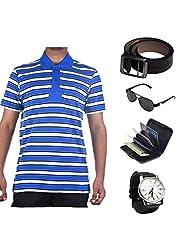 Garushi Blue T-Shirt With Watch Belt Sunglasses Cardholder - B00YMLNYWY