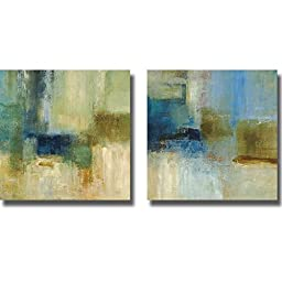 Green and Blue Abstract by Simon Addyman 2-pc Stretched Canvas Art Set with Hand-Painted Edges (Ready to Hang) (Black Edges)