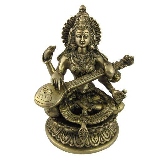 ShalinIndia Hindu Goddess Saraswati Worship Art Sculpture Metal Brass