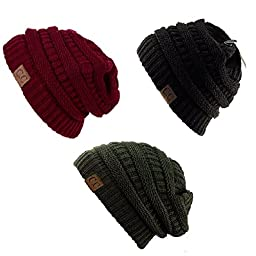 Trendy Warm Chunky Soft Stretch Cable Knit Slouchy Beanie Skully HAT20A (One Size, 3 PACK BURGUNDY/DARK OLIVE/BLACK)