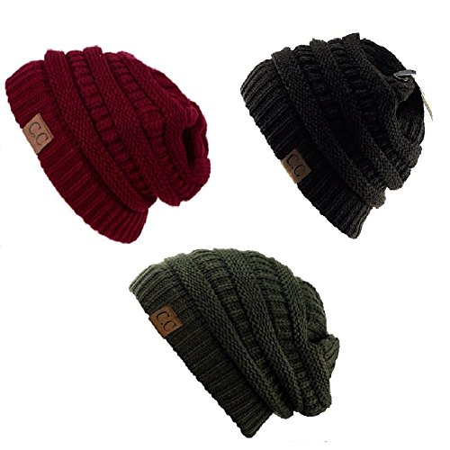 trendy-warm-chunky-soft-stretch-cable-knit-slouchy-beanie-skully-hat20a-one-size-3-pack-burgundy-dar