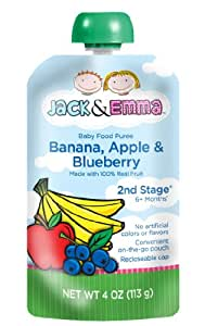 Jack and Emma Baby Food Puree Stage 2, Banana, Apple, Blueberry, 4 Ounce (Pack of 6)