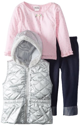 Cheap Little Lass Little Girls 3 Piece Hooded Quilted Puffy Vest Set Gray 4T 8b7faacab