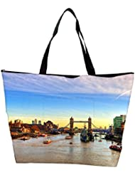 Snoogg Abstract Lake In City Designer Waterproof Bag Made Of High Strength Nylon