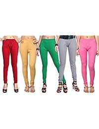 Comix Cotton Hosiery Fabric Women Legging Combo Set Of 5 - B01KOBURSE