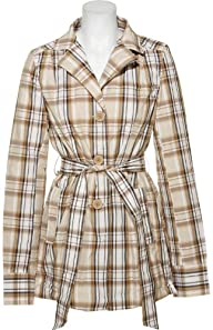 Jou Jou Women's Belted Plaid Light Rain Coat