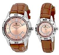 H Timewear Analog Brown Dial Couple Watch - 903BDTCOUPLE