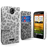 Accessory Master- White / Grey pu Leather Flip Cover Case with a Screen Protector for HTC One X - Leopard Print