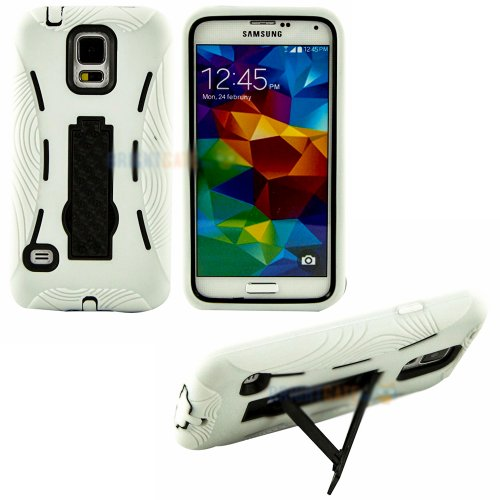 Mylife (Tm) Bright White And Shocking Jet Black - Shock Suit Survivor Series (Built In Kickstand + Easy Grip Silicone) 3 Piece + 2 Layer Case For New Galaxy S5 (5G) Smartphone By Samsung (External Flex Silicone Bumper Gel + Internal 2 Piece Rubberized Sna