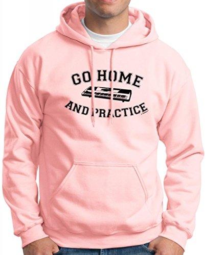 Go Home And Practice Keyboard Hoodie Sweatshirt Medium Light Pink