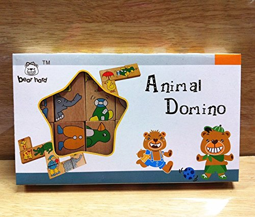 Metee: hot sale 2016 Animal Domino Puzzles Educational Toys Wooden Toy Baby Gift #1106