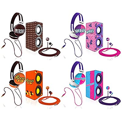 Candeez® Stereo Combo Pack, Stereo Headphones, Earbuds, and Speakers good for iPhone, iPad, iPod, Smartphones, Tablets, Laptops and more
