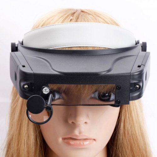 Fast Shipping + Free Tracking Number, Magnifier Led 1.5X 3X 9.5X 11X Lens Multi Functional Head Loupe Headband Glasses Style Hand Free Head Wearing Magnifying Glass Light Illumination