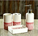 Bathroom Accessory Sets - Cute style - pink circle ceramic bathroom four-pieces set / wash suit / fashion home accessories
