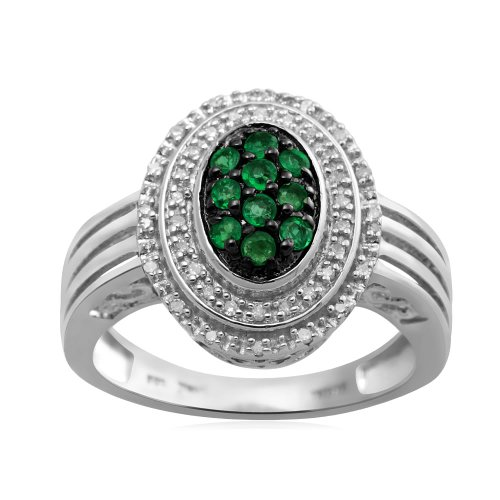 Jewelili Sterling Silver Pear Shape Ring with Genuine Zambian Emerald and 1/10 cttw Diamond