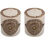 "Craftandcreations Combo Of Wax Henna Art Work Candles (3""x3"", White)"