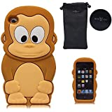 Boriyuan Touch 4 Big Cute Cutouts design Monkey Protective Soft Silicone Back Case Cover Shield For Apple iPod Touch 4 4th Gen Generation