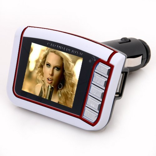 "1.8"" Lcd Car Mp3 Mp4 Player Wireless Fm Transmitter Sd Mmc Remote (White)"