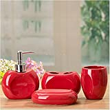 Red Concave Hollow 4 Piece Bath Ensemble of Ceramic, Gifts, Elegant Decorative Bathrooms Accessory With Soap Dish, Lotion Dispenser, Toothbrush Holder & Tumbler